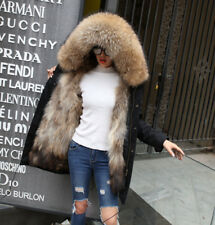 Parka real raccoon fur Nyctereutes procyon Hood raccoon fur lining mid length