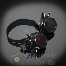 Mens Steampunk Spiked Welder Goggles Halloween Costume Masquerade Mask [Black]