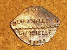 Plaque d'identité 1896 - La Rochelle 1232 - En cuivre