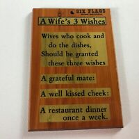 A Wife's 3 Wishes Wooden Wall Sign Plaque VTG Six Flags Georgia Love Gift Art