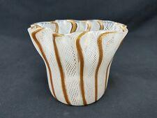Murano Venini Latticino Art Glass Vtg White Goldstone Handkerchief Vase