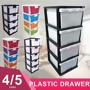 4 /5 Tier  Dasktop Plastic Drawer Storage Kids Collection Home Office Furniture