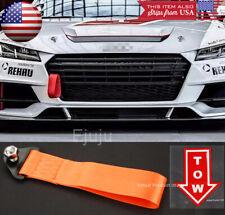 Orange Bumper Crash Beam Tow Hook Strap w/ Red Tow Arrow Sticker For Honda Acura