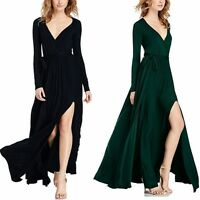 Prom Gown Party Women Long Sleeve Side Slit V Neck Evening Cocktial Maxi Dress