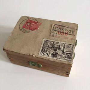 Boîte en Bois Expédition La Poste Timbres Anciens Cachet Cire Cabinet Curiosité