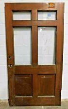Antique 1900's Wooden Entry Door Raised Panel 4 Lite Craftsman Style Fir Ornate