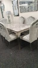 Louis Grey Marble Dining Table + 6 Silver Crush Velvet Dining Knocker Chairs -