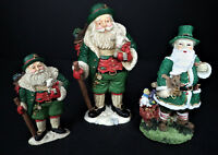 3 Irish Fathers Christmas '95 Santa Claus Figurines Holiday Decor San Nioclás