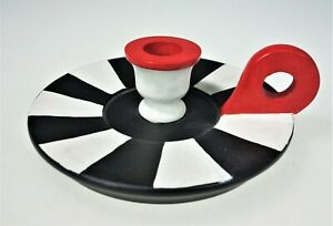 "Round Wooden Painted ChamberStick Candle Holder Taper 6"" Modern Primitive"