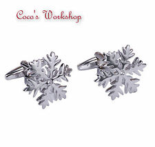 STAINLESS STEEL BASE CHRISTMAS SNOW FLAKE MENS GENTS CUFFLINKS w/ GIFT BAG