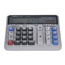 12-Digit Display Large Button Desktop Calculator School Solar Battery Power V6B0