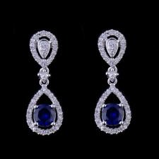Natural Diamond Round Blue Sapphire Drop Women Earrings Solid 14K White Gold