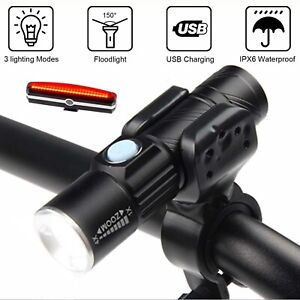 Bicycle Cycling Head Front Rear Bike Tail Lights MTB Lamp USB Rechargeable Set