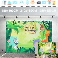 Animal Jungle Safari Photography Backdrop Birthday Party Decor Vinyl  | *