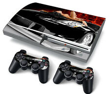 PS3 Original PlayStation 3 Skin Stickers PVC for Console & 2 Pads Sexy Car