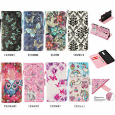 3D Pattern Flip Wallet PU Leather Case Cover Stand Card Holder For Mobile Phones