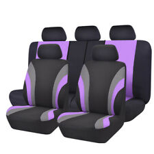 NEW 11PCS Automobile Purple Universal fit Car Seat Covers Set 40/60 50/50 Split