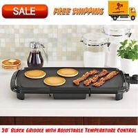 """20"""" Black Griddle with Adjustable Temperature Control, Dishwasher-Safe, Kitchen"""
