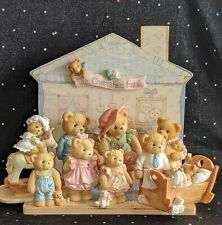 Lot of Cherished Teddies, Cherished Family Display with 9 Figurines by Enesco
