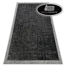 MODERN SISAL RUG FLOORLUX Frame black silver hard-wearing EASY CLEAN border