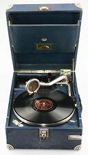 HMV 101 BLUE Portable Picnic Gramophone c.1929 - Fab Working Condition (KZ50)