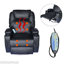 Deluxe Electric Heated Massage Sofa Adjustable Reclining Chair Armchair Black