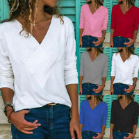 Women Ladies Wrap Front V Neck Long Sleeve Loose Basic Tees Blouse Shirt Tops UK