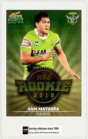 2011 Select NRL Champions Trading Cards Rookie 2010 R12 Sam Mataora (Raiders)