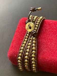 BOHO Men Women Long Multi-Wrap Dark Brown Leather Beaded Bracelet 30''L