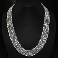GENUINE ATTRACTIVE 254.15 CTS NATURAL 5 LINE LABRADORITE FACETED BEADS NECKLACE