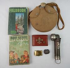 Vtg Boy Scout Lot Fieldbooks Wallet Scarf Ring Flashlight Belt Buckle Canteen