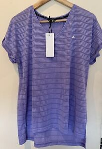 F&F Women Short Sleeve Lavender Sports Active Top Size M