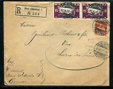 Suisse - Enveloppe en recommandé de Biel pour la France en 1920 - JJ 93