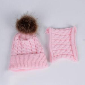 Winter Warm Knitted Crochet Beanie Hat Cap Scarf Set Baby Toddler Kids Boy Girls