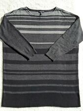 Eileen Fisher Boatneck Merino Wool Sweater L  Black Gray Stripe 3/4 Ribbed Hem