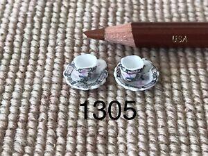Bespaq Dollhouse Miniature Porcelain China Dish Cup & Saucer Plate 2 Sets 1305