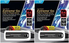 2 Pack SanDisk 64GB EXTREME GO 64G USB 3.1 200MB/s Flash Pen Drive SDCZ800-064G