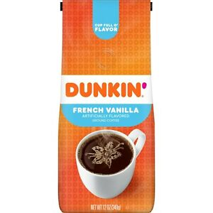 NEW Dunkin' Donuts French Vanilla Flavored Ground Coffee FREE WORLD SHIPPING
