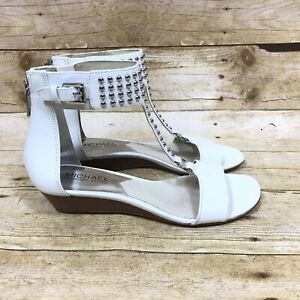 Michael Kors Women's Size 6M Studded White Leather Wedge Heel Open Toe Shoe