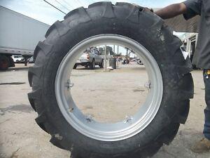 (2) 12.4x28 FORD JUBILEE 2N 8N Tractor Tires w/ Wheels & (2) 650x16 3 rib w/tube