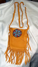 """5x5"""" Leather Fringed Leather Bag w/ Rosette & Braided Strap Native American SJ04"""