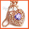 9K ROSE GOLD GF PURPLE AMETHYST HEART PADLOCK BELCHER RING CHAIN BANGLE BRACELET