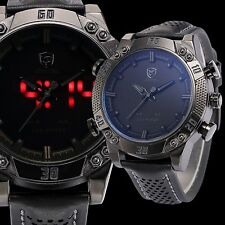 SHARK Black Steel Military LED Day Date Analog Mens Sport Leather Quartz Watches