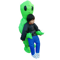 Inflatable Green Alien Costume for Kids Halloween Cosplay Party Fancy Dress Suit