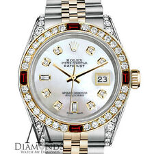 Ladies Rolex SS & Gold 26mm Datejust Watch White MOP Dial Ruby & Diamond Bezel