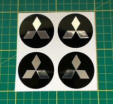 4x Alloy Wheel stickers chrome effect 70 mm fit mitsubishi center badge trim cap