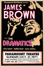 James Brown & The Dramatics at Paramount Theatre Concert Poster 1971  12x18