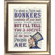 ART PRINT ANTIQUE BOOK PAGE DICTIONARY Alice IN Wonderland Bonkers MAD HATTER