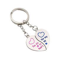 EP_ 1 Pair Hot Latest Lover Couple Love Heart Key Ring Keychain Keyfob Gift Keyr