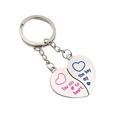 1 Pair Hot Latest Lover Couple Love Heart Key Ring Keychain Keyfob Gift Keyring